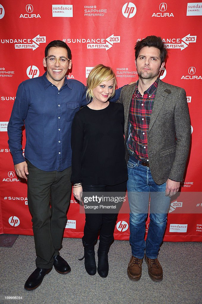 Director Stu Zicherman and actors <a gi-track='captionPersonalityLinkClicked' href=/galleries/search?phrase=Amy+Poehler&family=editorial&specificpeople=228430 ng-click='$event.stopPropagation()'>Amy Poehler</a> and Adam Scott attend the 'A.C.O.D' Premiere during the 2013 Sundance Film Festival at Eccles Center Theatre on January 23, 2013 in Park City, Utah.