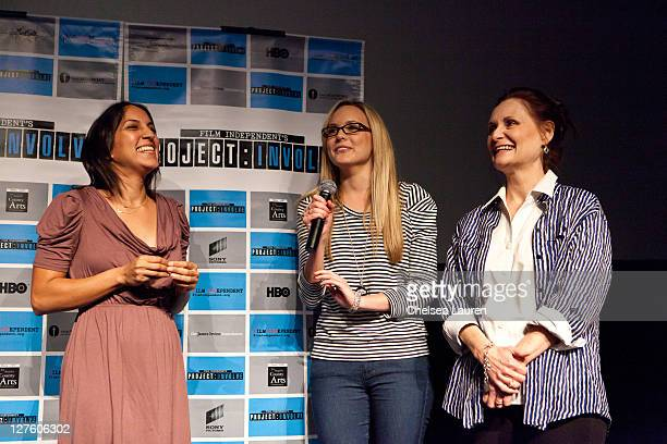 Director Suzi Yoonessi actress Meaghan Martin and actress Beth Grant attend the Film Independent screening of 'Dear Lemon Lima' at Downtown...