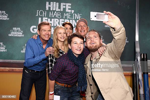 Director Sven Unterwald actors Lina Hueesker Anja Kling Oskar Keymer Otto Waalkes and Axel Stein attend the German premiere for the film 'Hilfe Ich...