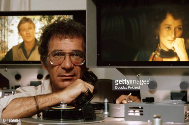 Director Sydney Pollack edits the 1985 motion picture Out of Africa with Robert Redford and Meryl Streep at Universal Studios in Los Angeles