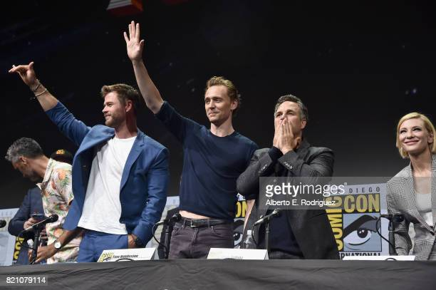 Director Taika Waititi actors Chris Hemsworth Tom Hiddleston Mark Ruffalo Cate Blanchett from Marvel Studios' 'Thor Ragnarok' at the San Diego...