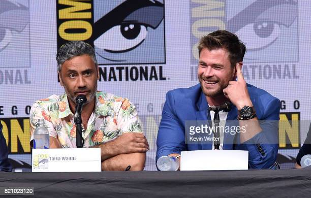 Director Taika Waititi and actor Chris Hemsworth attend the Marvel Studios 'Thor Ragnarok' Presentation during ComicCon International 2017 at San...