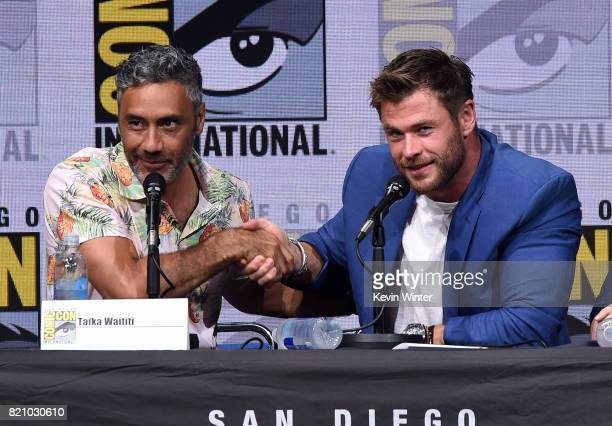 Director Taika Waititi and actor Chris Hemsworth attend the Marvel Studios 'Thor Ragnarok' Presentation during ComicCon International 2017 at San...