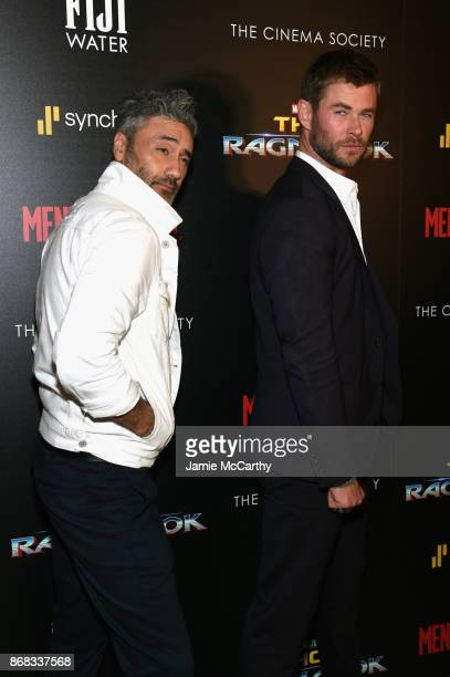 Director Taika Waititi and Chris Hemsworth attend The Cinema Society's Screening Of Marvel Studios' 'Thor Ragnarok' at the Whitby Hotel on October 30...
