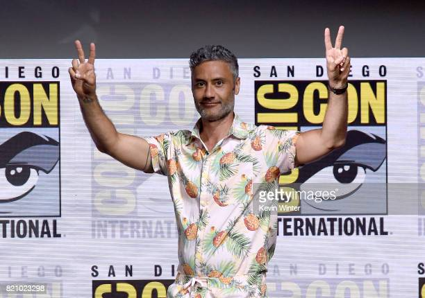 Director Taika Waititi attends the Marvel Studios 'Thor Ragnarok' Presentation during ComicCon International 2017 at San Diego Convention Center on...