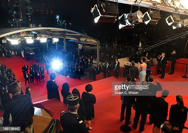 Director Takashi Miike and actors Nanako Matsushima and Takao Osawa attend the 'Wara No Tate' Premiere during the 66th Annual Cannes Film Festival at...