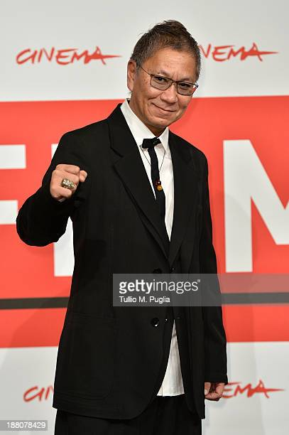 Director Takashi Miike attends the 'The Mole Song' Photocall during the 8th Rome Film Festival at the Auditorium Parco Della Musica on November 15...