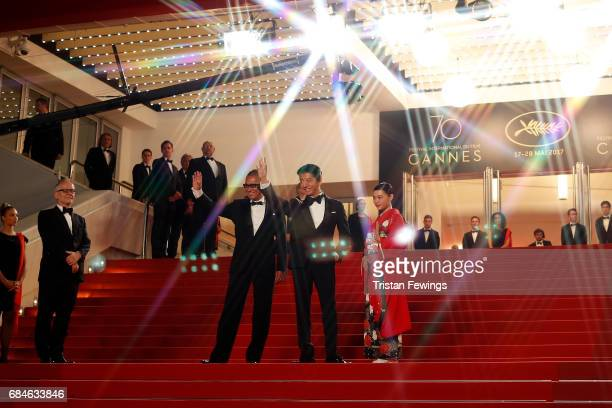 Director Takashi Miike Takuya Kimura and Hana Sugisaki attend the 'Blade Of The Immortal ' premiere during the 70th annual Cannes Film Festival at...