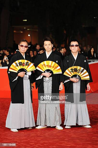 Director Takashi Miike writer Toma Ikuta and writer Noboru Takahashi attends 'The Mole Song' Premiere during The 8th Rome Film Festival on November...