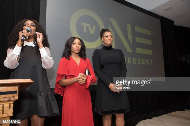 Director Tasha Smith actress Niatia quotLil' Mamaquot Kirkland who plays Falicia Blakely and actress Tami Roman who plays Stacey speak to guests at...