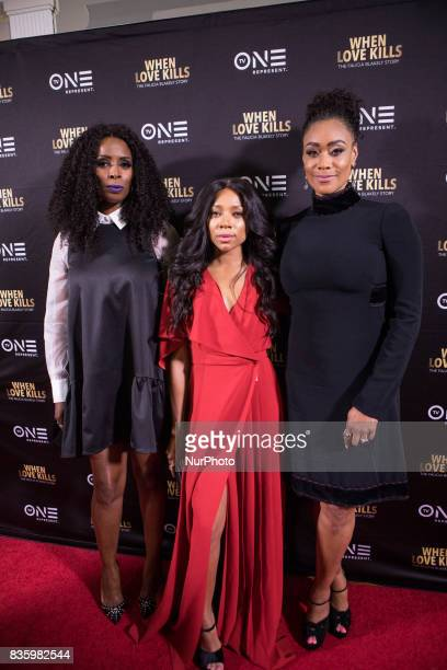 Director Tasha Smith actress Niatia quotLil' Mamaquot Kirkland who plays Falicia Blakely and Tami Roman who plays Stacey pose for a photo on the red...