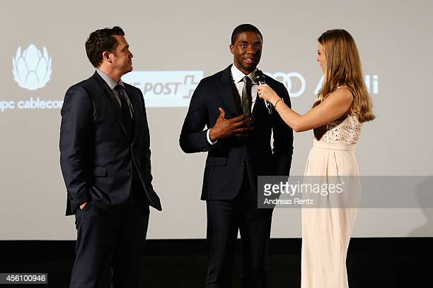 Director Tate Taylor actor Chadwick Boseman and Nina Eichinger talk on stage after the 'Get On Up' Opening Film and Opening Ceremony of the Zurich...