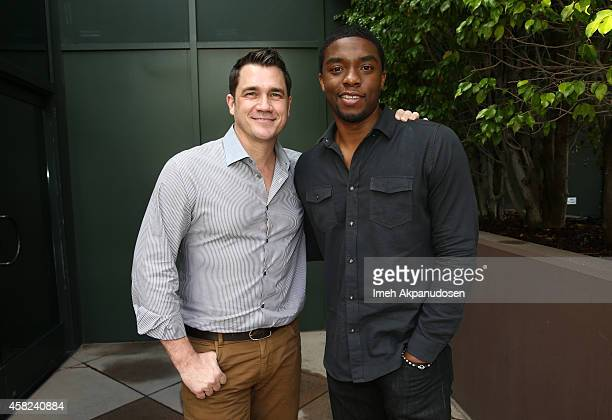 Director Tate Taylor and actor Chadwick Boseman attend Deadline's The Contenders at DGA Theater on November 1 2014 in Los Angeles California