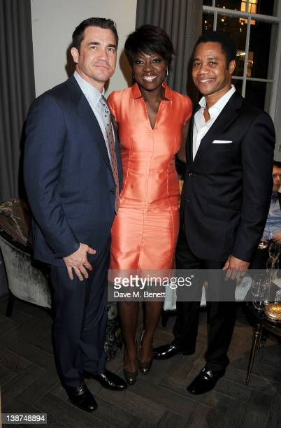 Director Tate Taylor and actors Viola Davis and Cuba Gooding Jr attend the Dreamworks PreBAFTA Tea Party in celebration of 'The Help' and 'War Horse'...