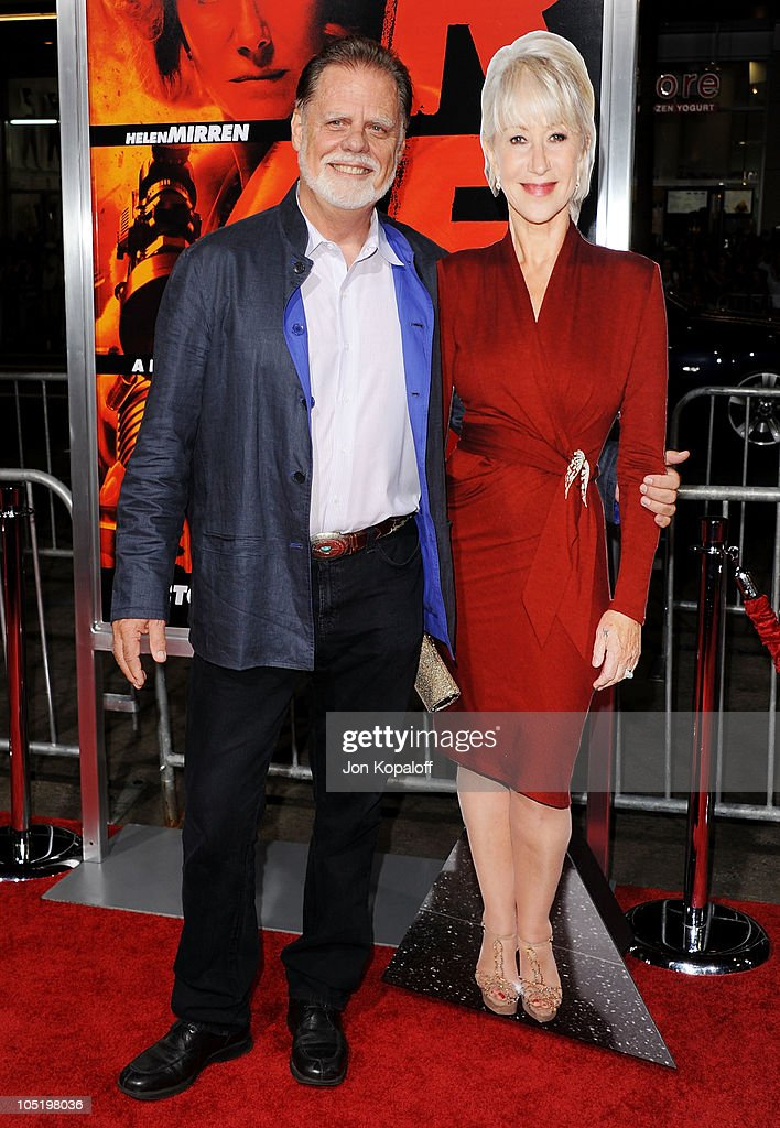 Director Taylor Hackford and a cardboard figure of wife Helen Mirren arrive at the Los Angeles Premiere 'RED' at Grauman's Chinese Theatre on October...