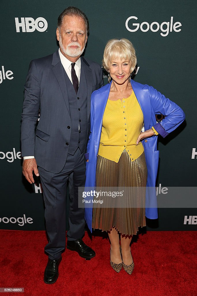 Director Taylor Hackford and actress Helen Mirren attend the Google/HBO celebration of 'All The Way' during White House Correspondents' weekend at...