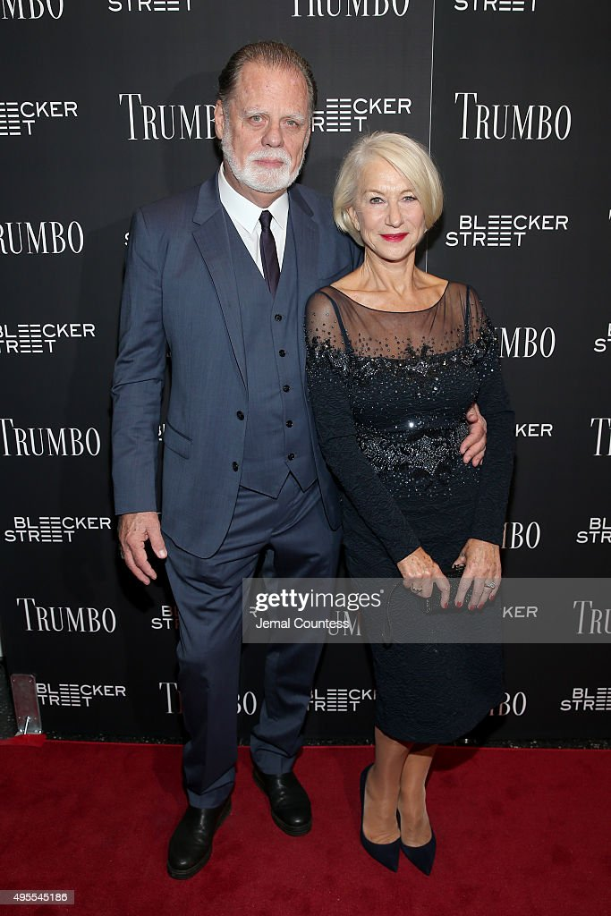Director Taylor Hackford and Actress Helen Mirren attend the 'Trumbo' New York premiere at MoMA Titus Two on November 3 2015 in New York City