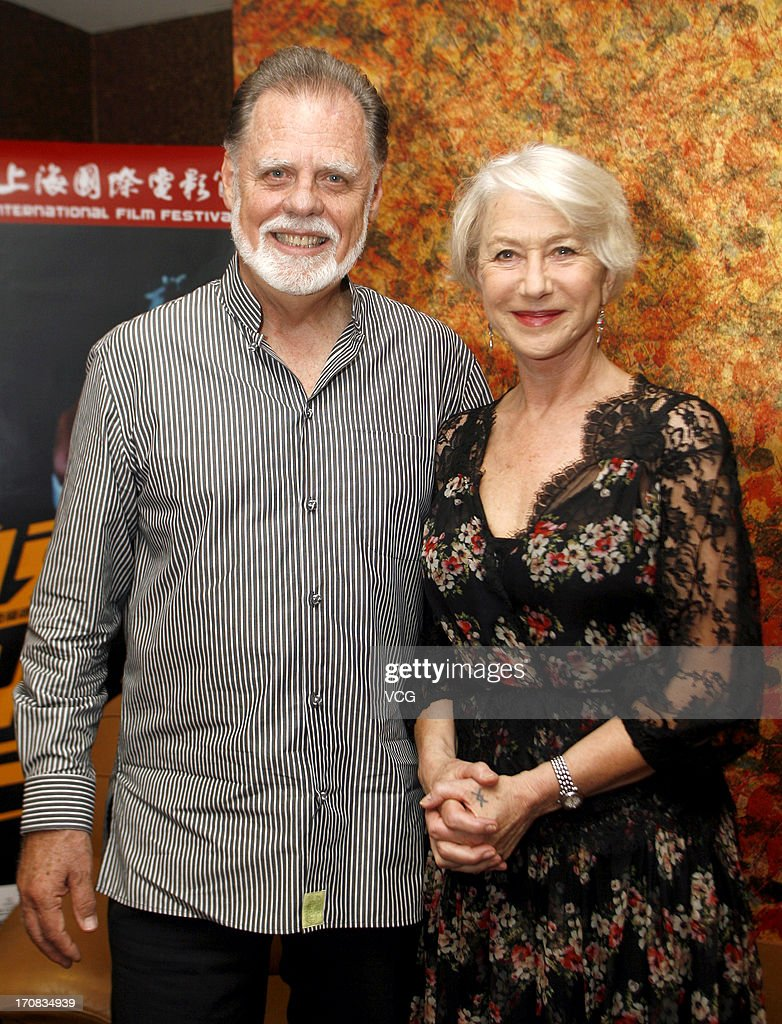 Director Taylor Hackford and wife actress Helen Mirren attend 'Parker' press conference during the 16th Shanghai International Film Festival at...