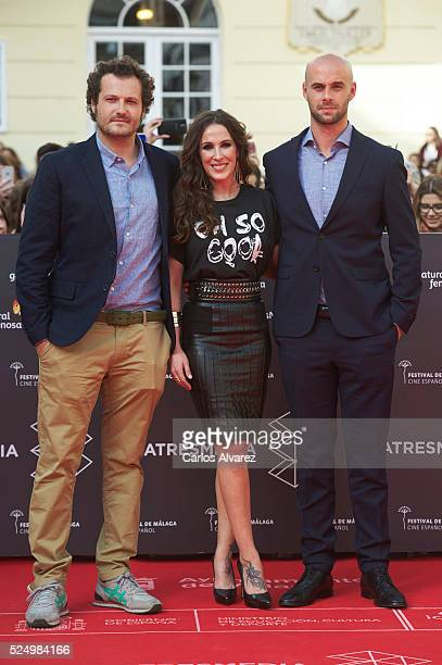 Director Telmo Iragorri singer Malu and director Curro Sanchez attend 'Malu Ni Un Paso Atras' photocall at the Cervantes Theater on April 27 2016 in...