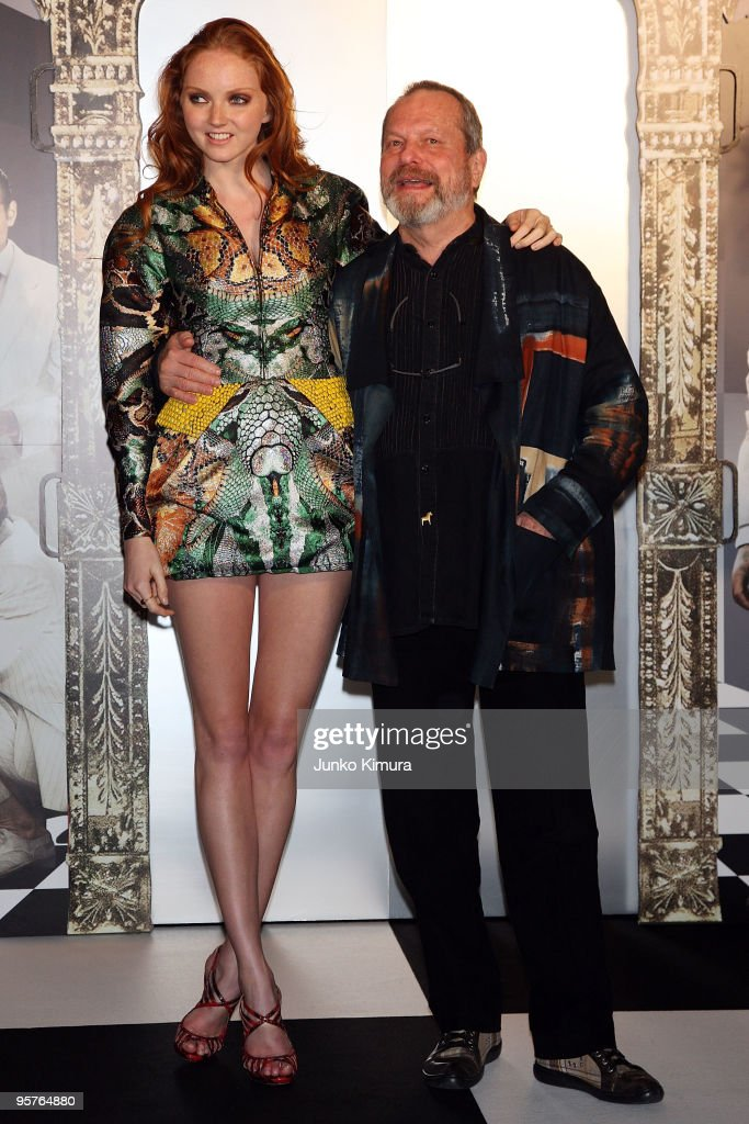Director Terry Gilliam and actress Lily Cole attend the 'The Imaginarium of Doctor Parnassus' Japan Premiere at Roppongi Hills on January 14 2010 in...