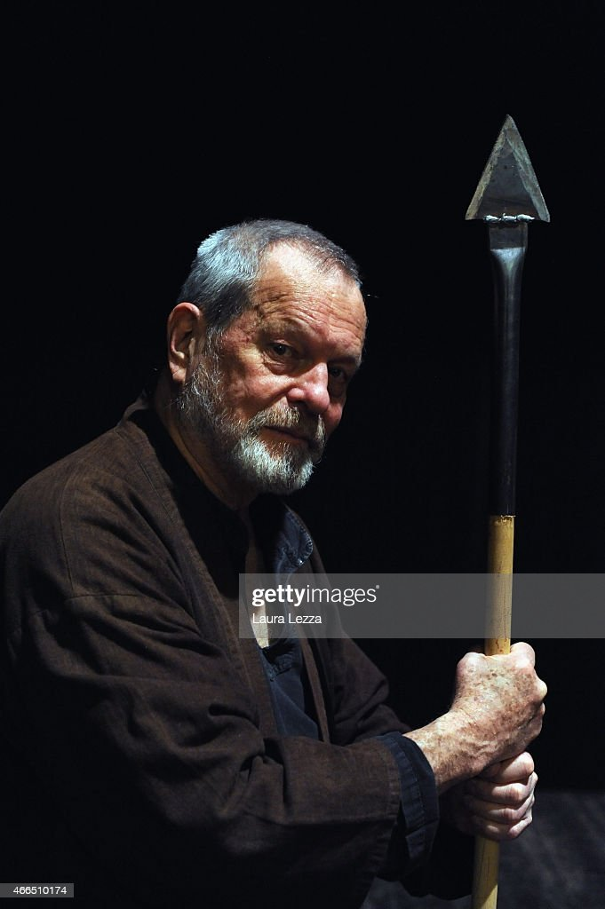 Director Terry Gilliam poses as 'Don Quixote' while attending a Q&A at the Lucca Film Festival on March 16, 2015 in Lucca, Italy.