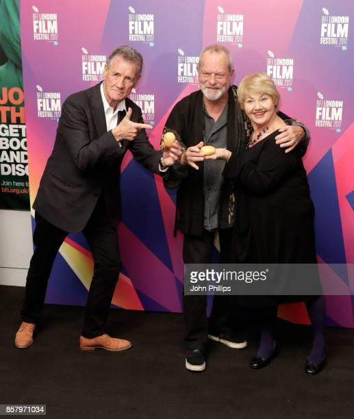 Director Terry Gilliam with actors Michael Palin and Annette Badland depart the screening of 'Jabberwocky' during the 61st BFI London Film Festival...