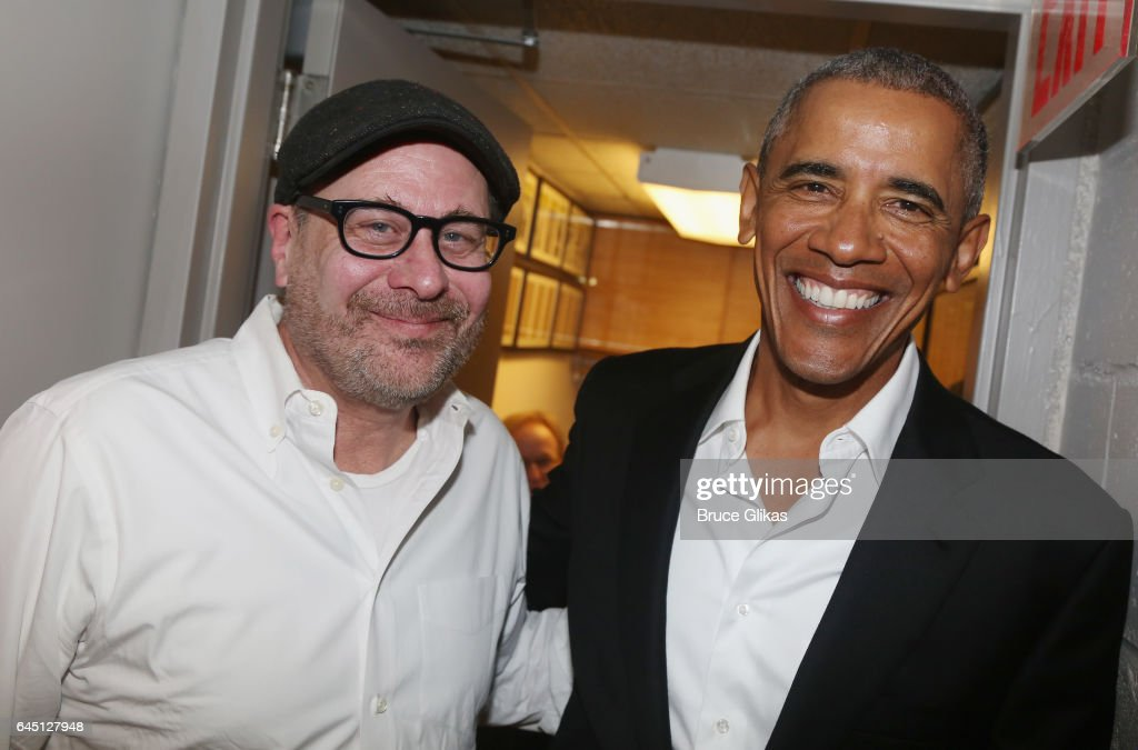 Director Terry Kinney and The 44th President of The United States Barack Obama pose backstage at The Roundabout Theatre Company's production of 'Arthur Miller's The Price' on Broadway at The American Airlines Theatre on February 24, 2017 in New York City.