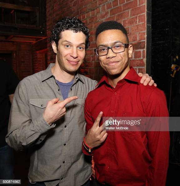 Director Thomas Kail greets student performer backstage as thirteen hundred students from New York City public schools gathered for a 'Hamilton'...
