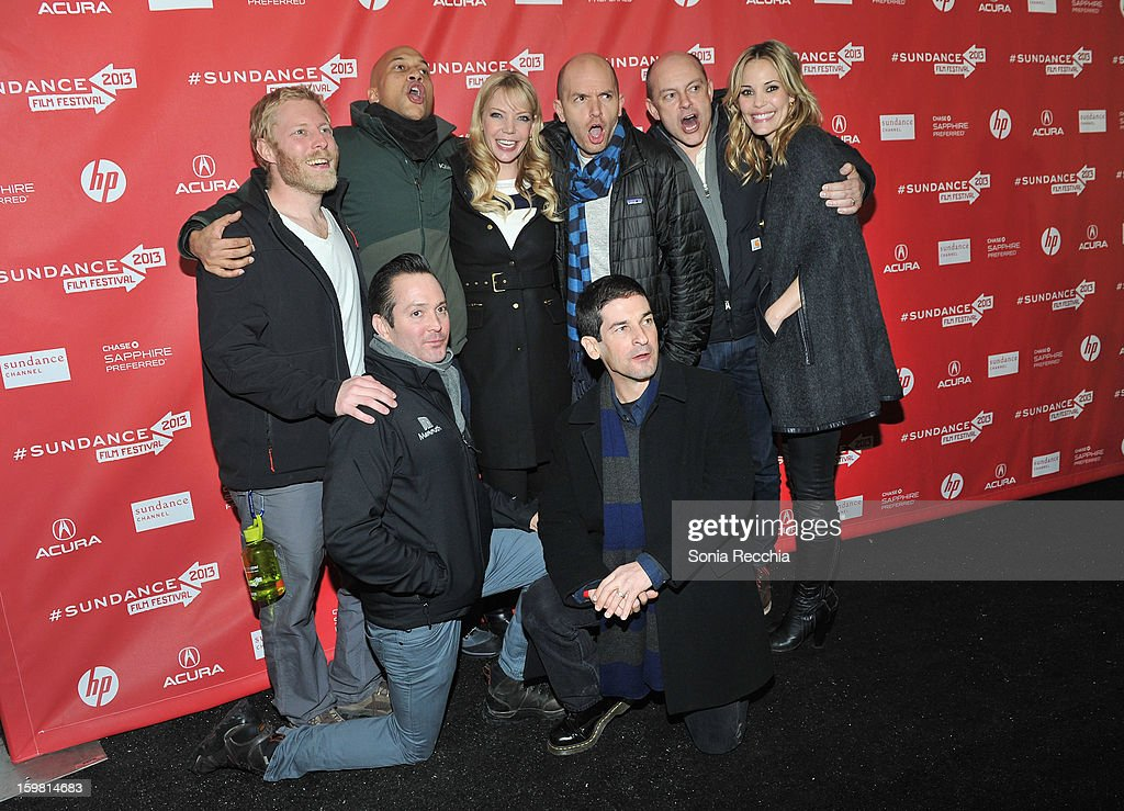Director Thomas Lennon, actors Keegan Michael Key, Riki Lindhome, Paul Scheer, director Robert Ben Garant and actors Rob Corddry, Rob Huebel and Leslie Bibb attend the 'Hell Baby' premiere at Library Center Theater during the 2013 Sundance Film Festival on January 20, 2013 in Park City, Utah.