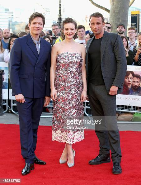 Director Thomas Vinterberg actress Carey Mulligan and actor Matthias Schoenaerts attend the World Premiere of 'Far From The Madding Crowd' at BFI...