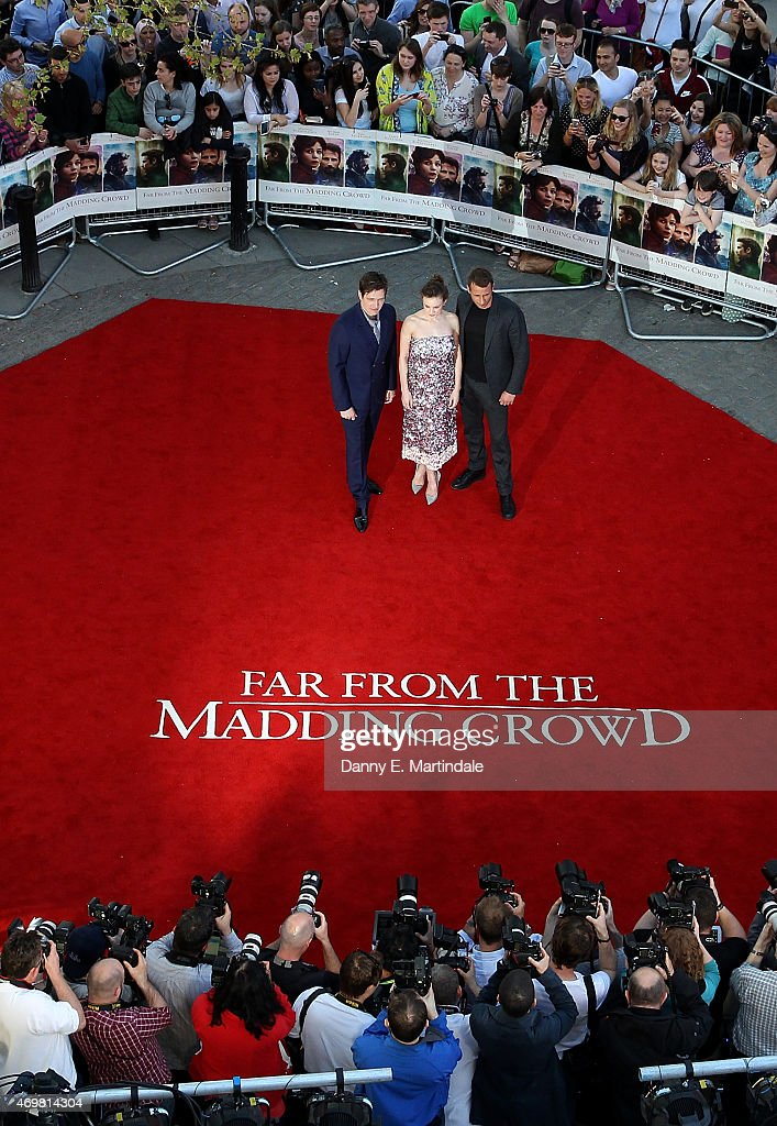 Director Thomas Vinterberg actress Carey Mulligan and actor Matthias Schoenaerts attends the World Premiere of 'Far From The Madding Crowd' at BFI...