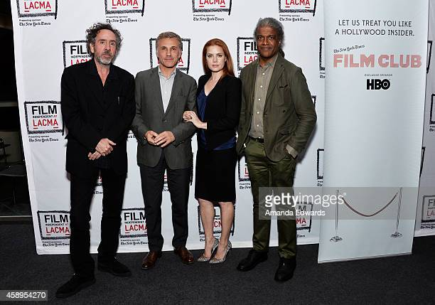 Director Tim Burton actor Christoph Waltz actress Amy Adams and Film Independent at LACMA Film Curator Elvis Mitchell attend the Film Independent at...