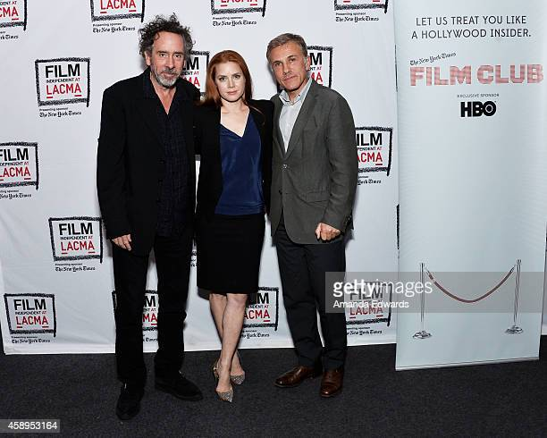 Director Tim Burton actress Amy Adams and actor Christoph Waltz attend the Film Independent at LACMA Special Screening of 'Big Eyes' at the Bing...