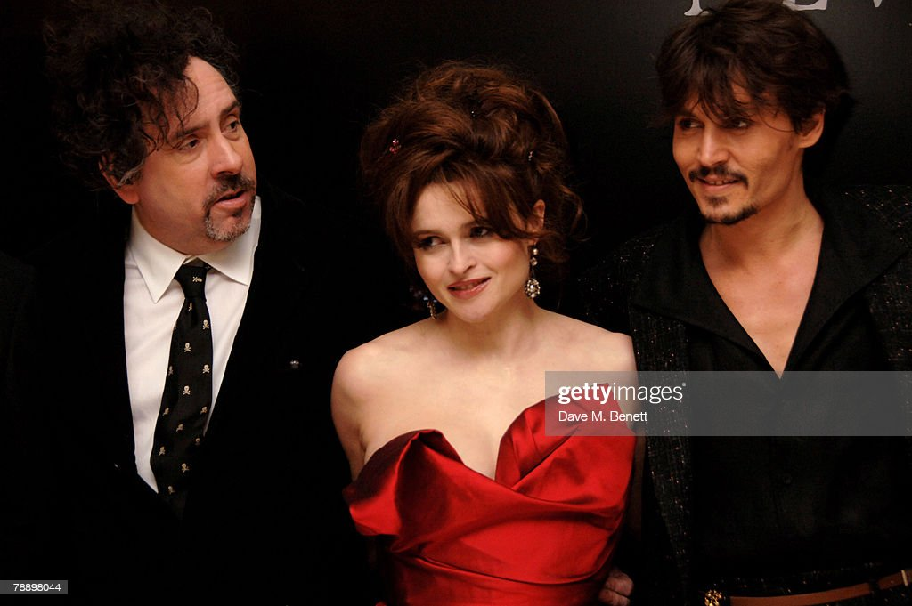 Director Tim Burton, actress Helena Bonham Carter and actor <a gi-track='captionPersonalityLinkClicked' href=/galleries/search?phrase=Johnny+Depp&family=editorial&specificpeople=202150 ng-click='$event.stopPropagation()'>Johnny Depp</a> attend the European film premiere of 'Sweeney Todd', at the Odeon Leicester Square January 10, 2008 in London, England.