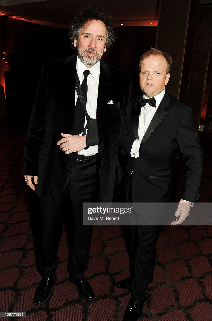Director Tim Burton (L) and actor Toby Jones attend a champagne reception at the London Critics Circle Film Awards at the May Fair Hotel on January 20, 2013 in London, England.