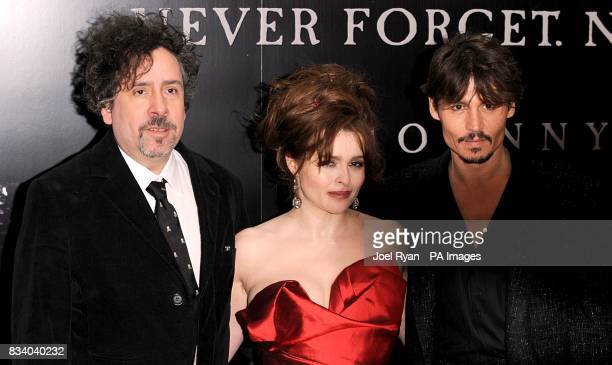Director Tim Burton and actors Helena Bonham Carter and Johnny Depp arrive for the premiere of Sweeney Todd The Demon Barber of Fleet Street at the...