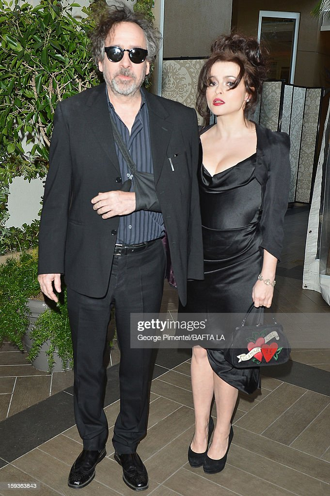 Director <a gi-track='captionPersonalityLinkClicked' href=/galleries/search?phrase=Tim+Burton&family=editorial&specificpeople=206342 ng-click='$event.stopPropagation()'>Tim Burton</a> and actress <a gi-track='captionPersonalityLinkClicked' href=/galleries/search?phrase=Helena+Bonham+Carter&family=editorial&specificpeople=210567 ng-click='$event.stopPropagation()'>Helena Bonham Carter</a> arrive at the BAFTA Los Angeles 2013 Awards Season Tea Party held at the Four Seasons Hotel Los Angeles on January 12, 2013 in Los Angeles, California.