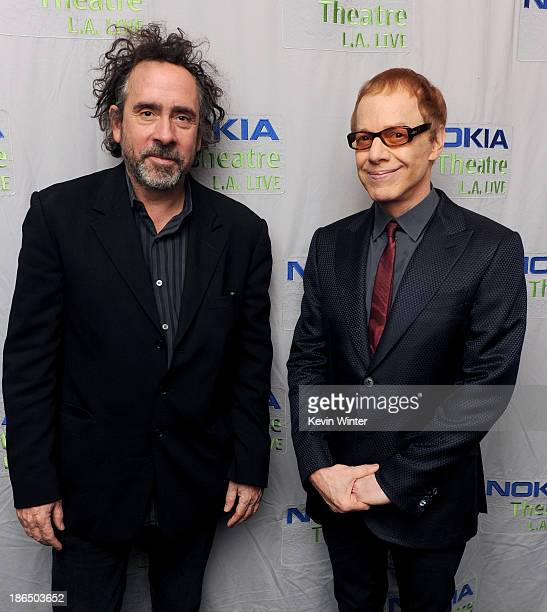 Director Tim Burton and composer Danny Elfman attend Danny Elfman's Music from the films of Tim Burton at Nokia Theatre LA Live on October 31 2013 in...