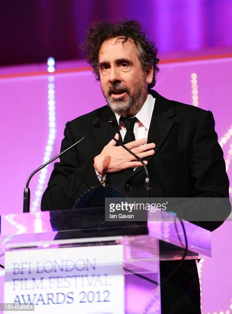 Director Tim Burton speaks on stage as he receives the BFI Fellowship award during the 56th BFI London Film Festival Awards at the Banqueting House...