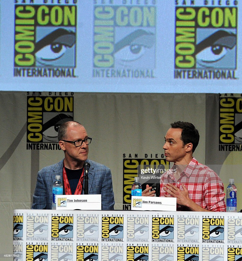 Director Tim Johnson (L) and actor Jim Parsons attend the DreamWorks Animation presentation during Comic-Con International 2014 at the San Diego Convention Center on July 24, 2014 in San Diego, California.