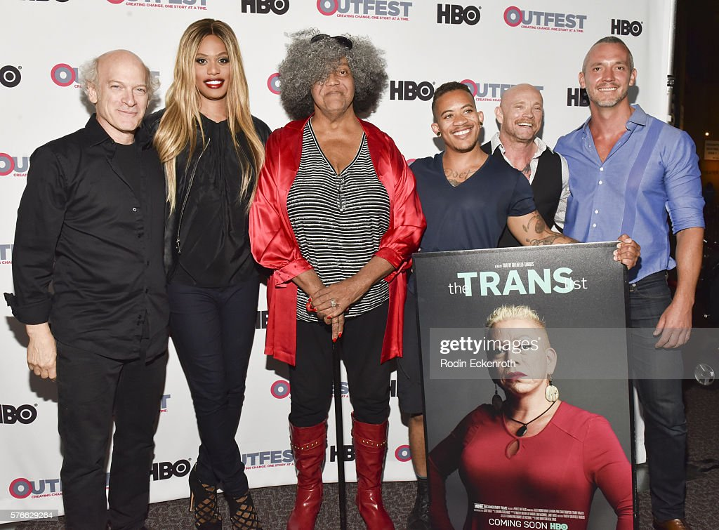 Director Timothy GreenfieldSanders actress Laverne Cox activist Miss Major American soldier Shane Ortega and filmmaker Buck Angel attends the Outfest...