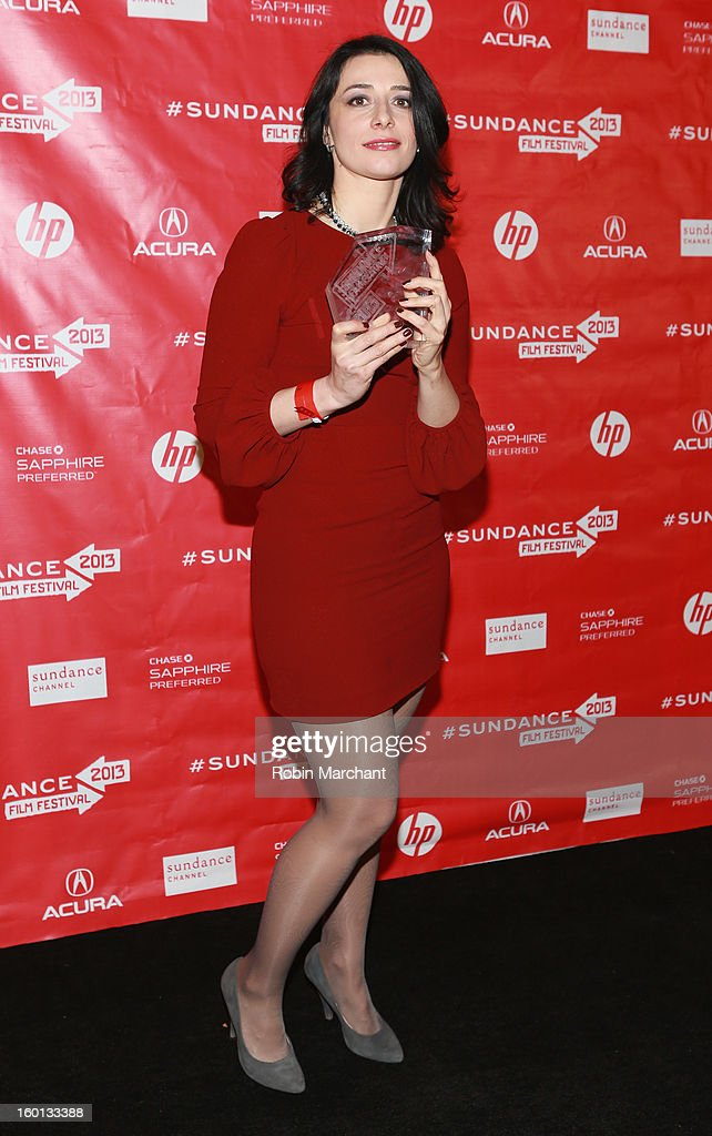 Director Tinatin Gurchiani winner of the Directing Award: World Cinema Documentary for The Machine Which Makes Everything Disappear poses with award at the Awards Night Ceremony during the 2013 Sundance Film Festival at Basin Recreation Field House on January 26, 2013 in Park City, Utah.