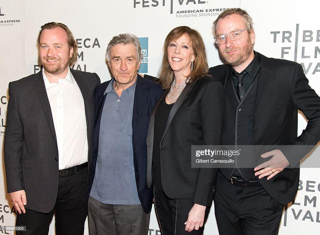 Director Tom Berninger Robert De Niro Jane Rosenthal and Matt Berninger of The National attend the 'Mistaken for Strangers' premiere during the...