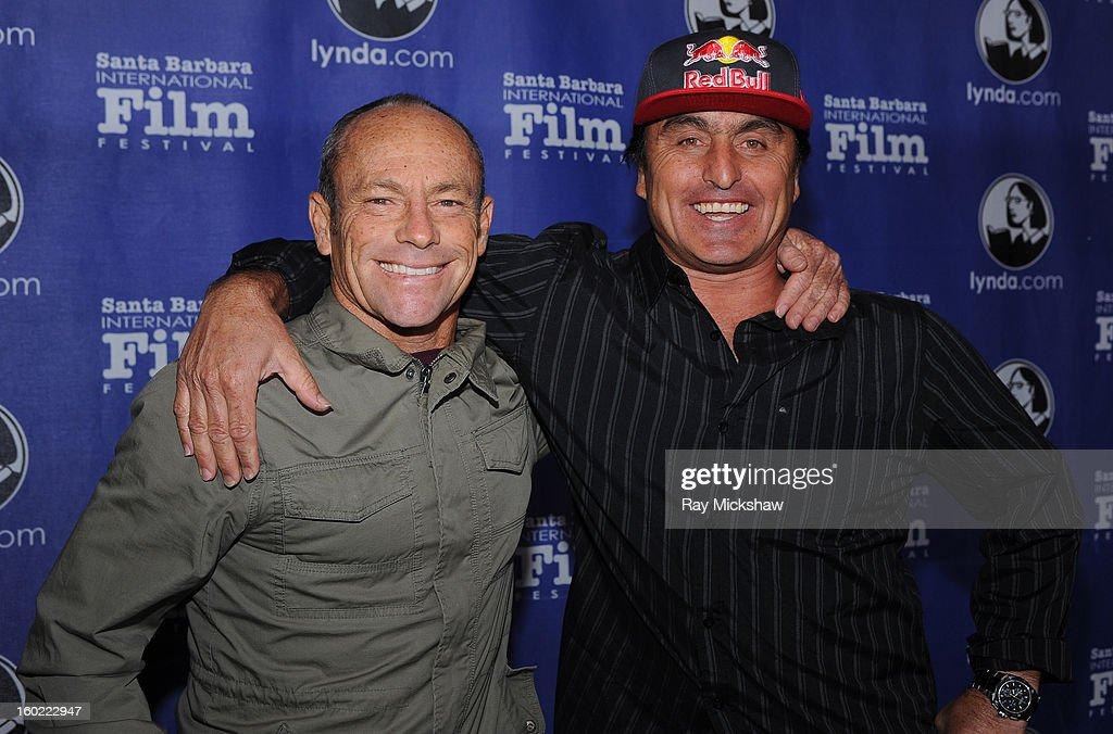 Director <a gi-track='captionPersonalityLinkClicked' href=/galleries/search?phrase=Tom+Carroll&family=editorial&specificpeople=850381 ng-click='$event.stopPropagation()'>Tom Carroll</a> and surfer Justin McMillan attends the screening of 'Storm Surfers 3D' at the 28th Santa Barbara International Film Festival on January 27, 2013 in Santa Barbara, California.