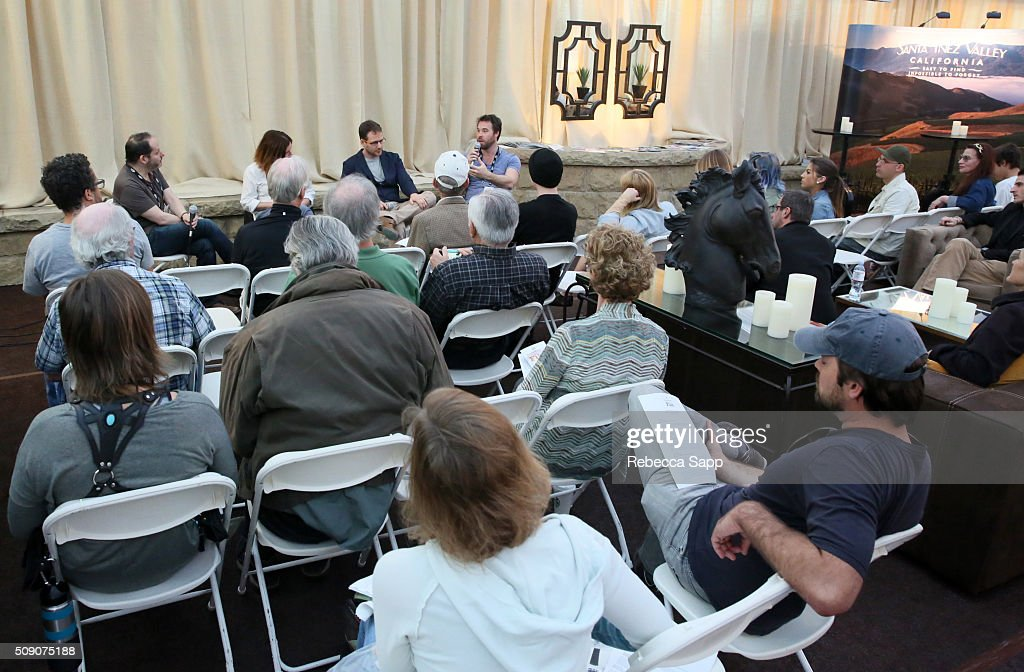 Director Tom Donahue, Director Darcy Dennett, Director Assaf Banitt and Moderator Michael Albright speak at the Social Justice Documentaries at the Engel and Völkers Pavillion at the Lobero during the 31st Santa Barbara International Film Festival on February 8, 2016 in Santa Barbara, California.