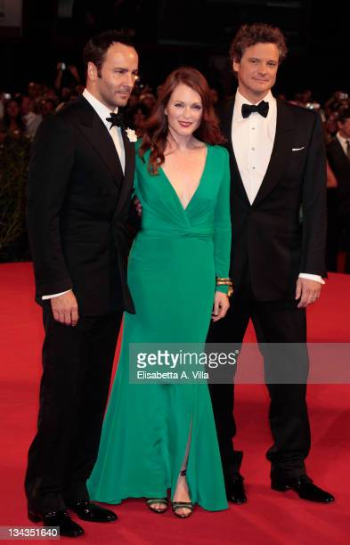 Director Tom Ford actress Julianne Moore and actor Colin Firth attend 'A Single Man' Premiere at the Sala Grande during the 66th Venice Film Festival...