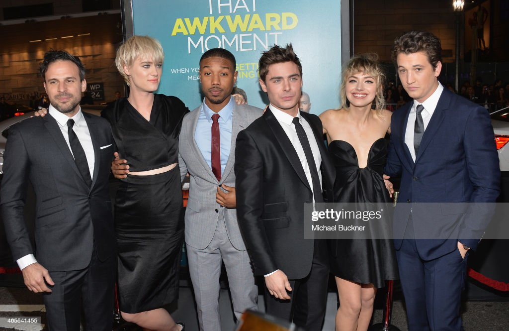 Director Tom Gormican, actress Mackenzie Davis, actor Michael B. Jordan, actor Zac Efron, actress Imogen Poots and actor Miles Teller arrive at the premiere of Focus Features' 'That Awkward Moment' at Regal Cinemas L.A. Live on January 27, 2014 in Los Angeles, California.