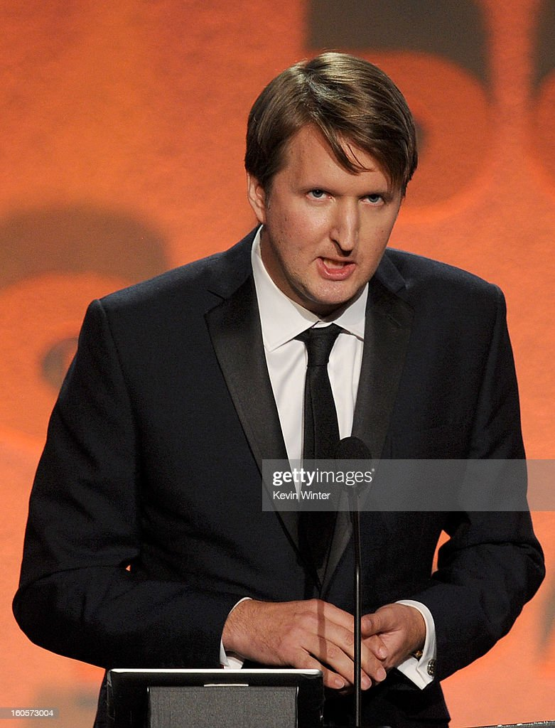 Director <a gi-track='captionPersonalityLinkClicked' href=/galleries/search?phrase=Tom+Hooper&family=editorial&specificpeople=681836 ng-click='$event.stopPropagation()'>Tom Hooper</a> accepts the Feature Film Nomination Plaque for 'Les Miserables' onstage during the 65th Annual Directors Guild Of America Awards at Ray Dolby Ballroom at Hollywood & Highland on February 2, 2013 in Los Angeles, California.