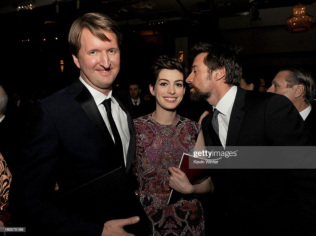 Director <a gi-track='captionPersonalityLinkClicked' href=/galleries/search?phrase=Tom+Hooper&family=editorial&specificpeople=681836 ng-click='$event.stopPropagation()'>Tom Hooper</a>, actors <a gi-track='captionPersonalityLinkClicked' href=/galleries/search?phrase=Anne+Hathaway+-+Actress&family=editorial&specificpeople=11647173 ng-click='$event.stopPropagation()'>Anne Hathaway</a> and <a gi-track='captionPersonalityLinkClicked' href=/galleries/search?phrase=Hugh+Jackman&family=editorial&specificpeople=202499 ng-click='$event.stopPropagation()'>Hugh Jackman</a> during the 65th Annual Directors Guild Of America Awards at Ray Dolby Ballroom at Hollywood & Highland on February 2, 2013 in Los Angeles, California.