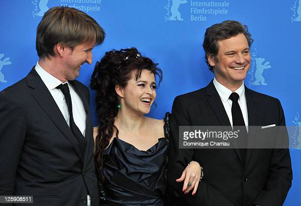 Director Tom Hooper actress Helena Bonham Carter and actor Colin Firth attend the 'The King's Speech' Photocall during day seven of the 61st Berlin...